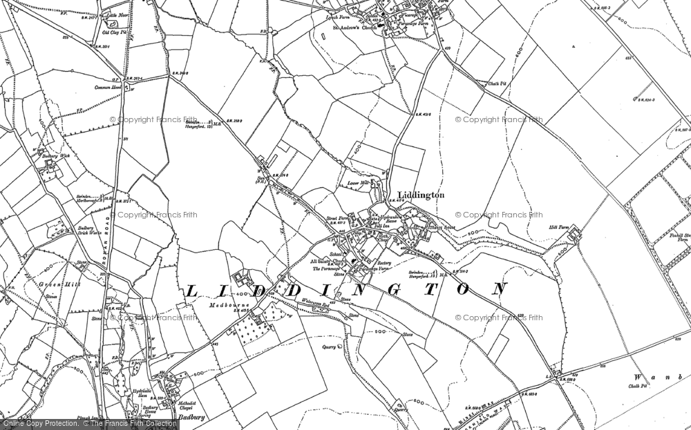Old Map of Liddington, 1910 - 1922 in 1910