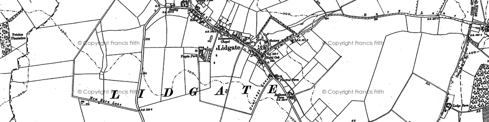 Old map of Lidgate in 1884