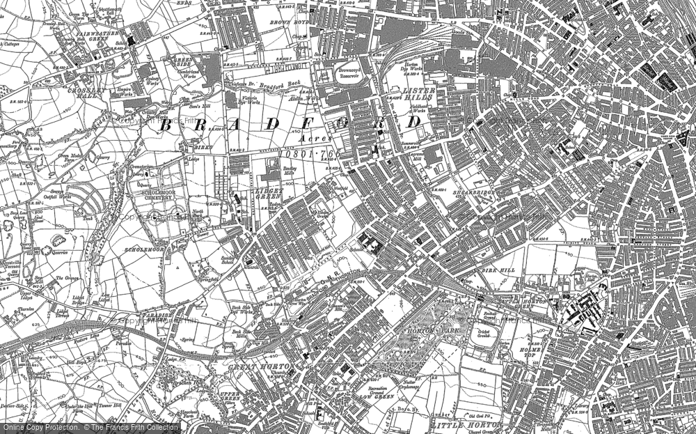 Old Map of Lidget Green, 1891 in 1891
