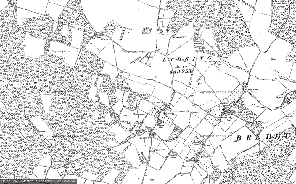 Old Map of Lidsing, 1895 in 1895