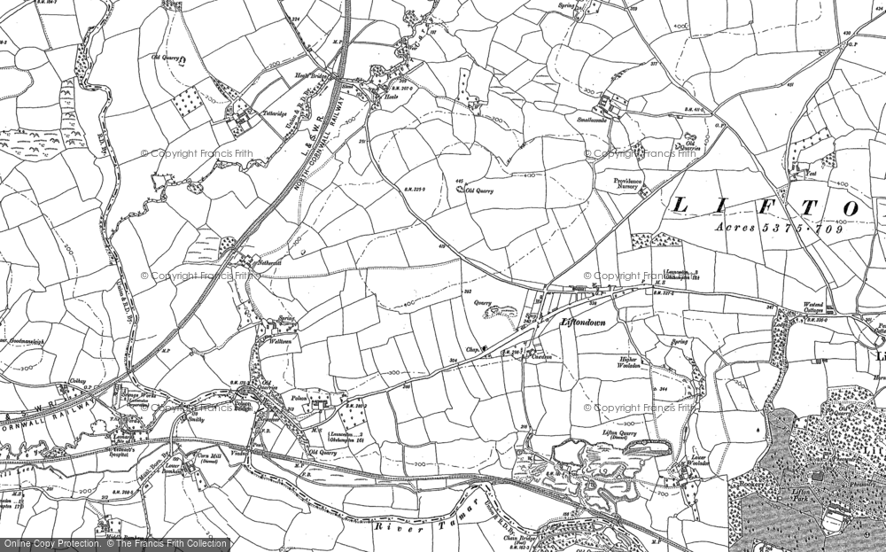 Old Map of Liftondown, 1905 in 1905