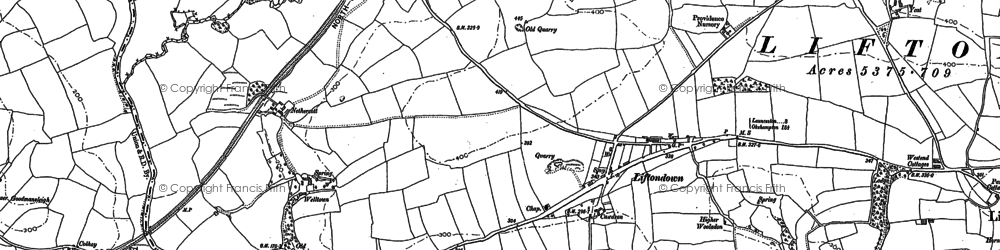 Old map of Wishworthy in 1905