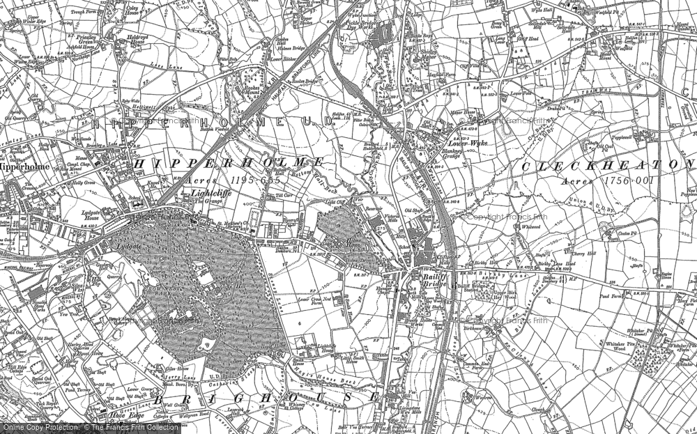 Old Map of Lightcliffe, 1892 - 1893 in 1892