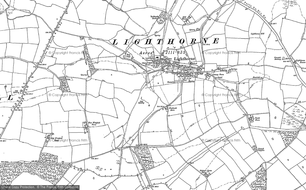 Old Map of Historic Map covering Lighthorne Rough in 1885