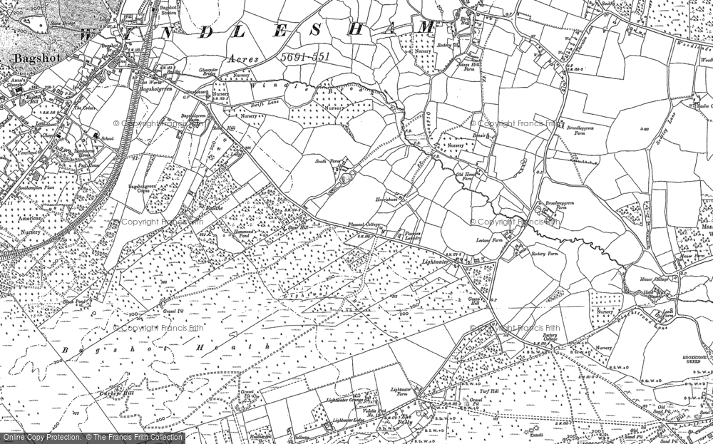 Old Map of Historic Map covering Bagshot Heath in 1895
