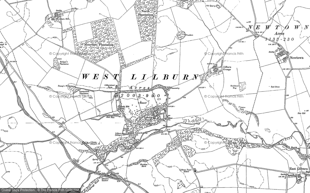 Old Map of Historic Map covering Lilburn Hill in 1896