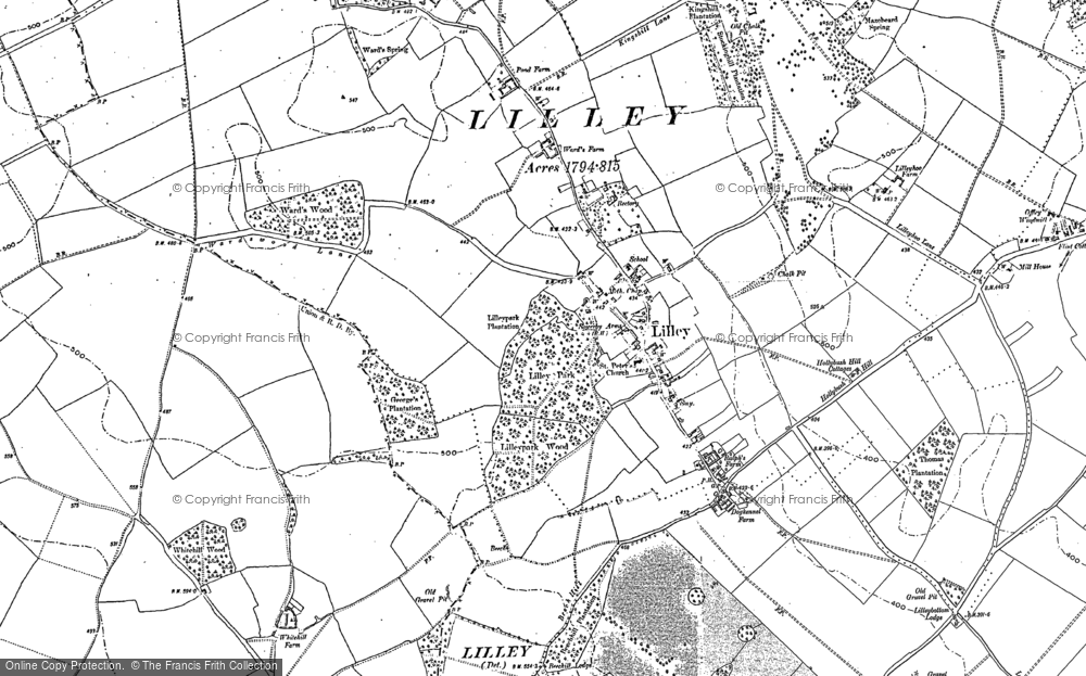 Old Map of Historic Map covering Lilley Hoo in 1899