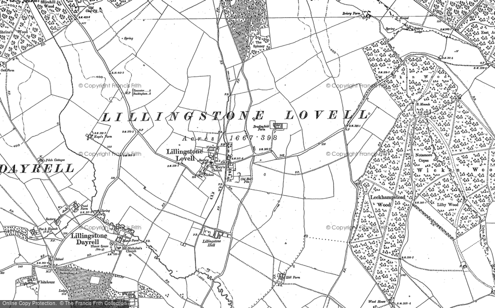 Old Map of Lillingstone Lovell, 1883 - 1899 in 1883