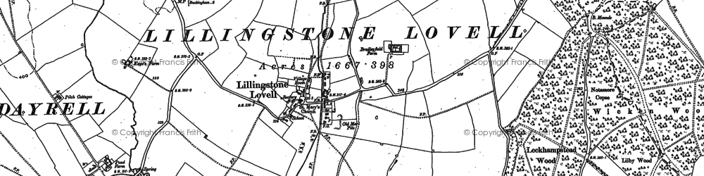 Old map of Leckhampstead Wood in 1883