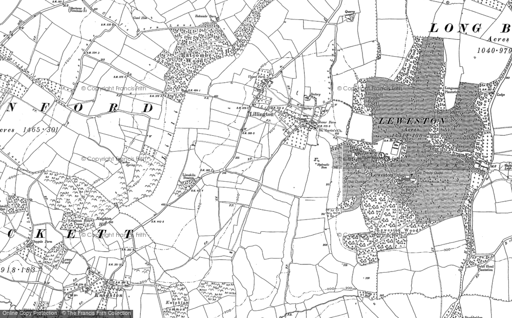 Old Map of Historic Map covering Lillington Hill in 1886