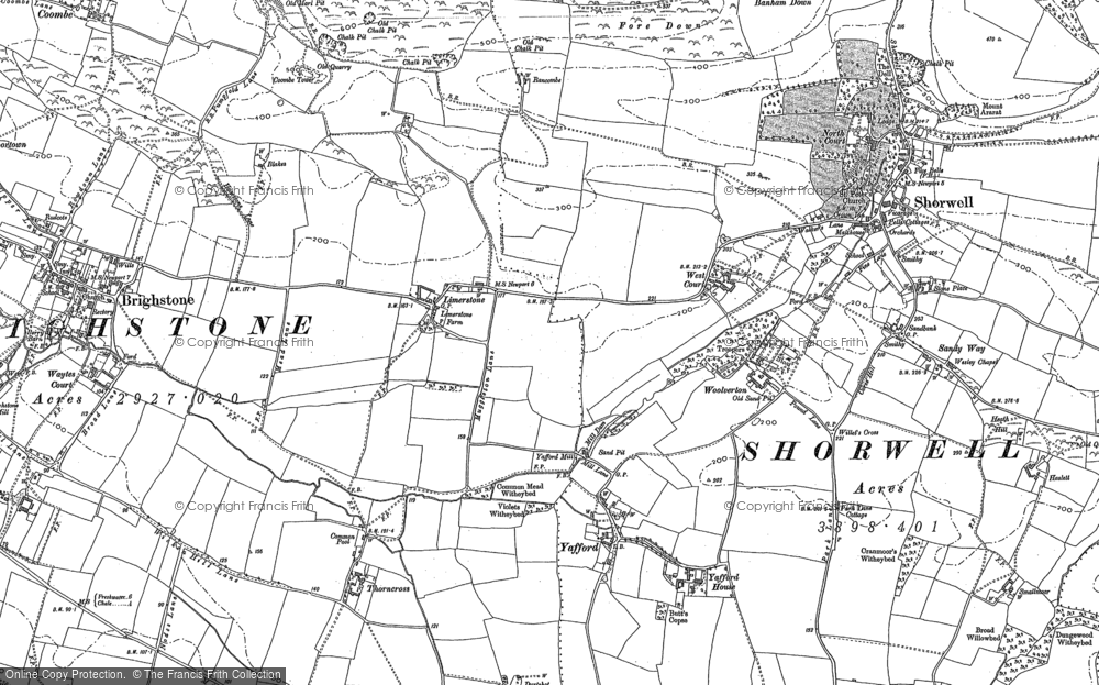Old Map of Historic Map covering Limerstone Down in 1907