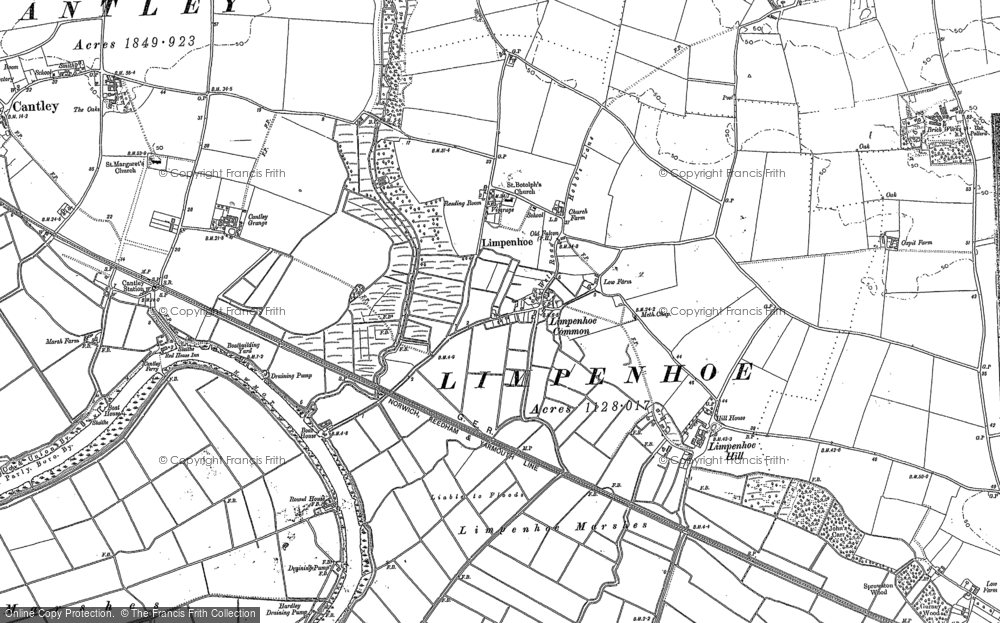 Old Map of Historic Map covering Limpenhoe Marshes in 1884