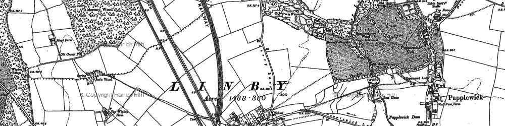 Old map of Aldercar Wood in 1879