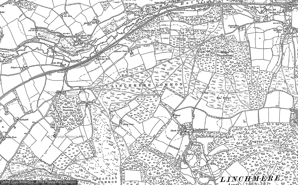 Old Map of Historic Map covering Linchmere Common in 1910