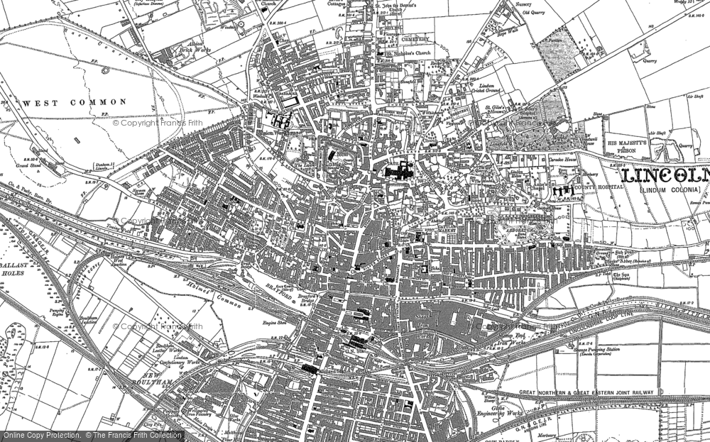 Old Map of Lincoln, 1886 - 1887 in 1886