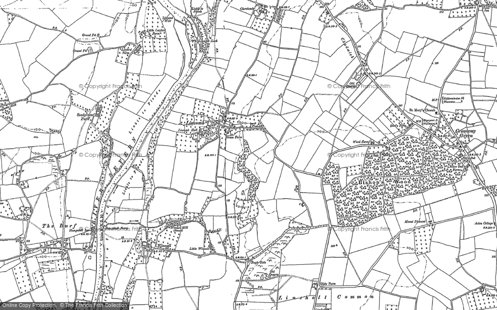Old Map of Historic Map covering Lineholt Common in 1883