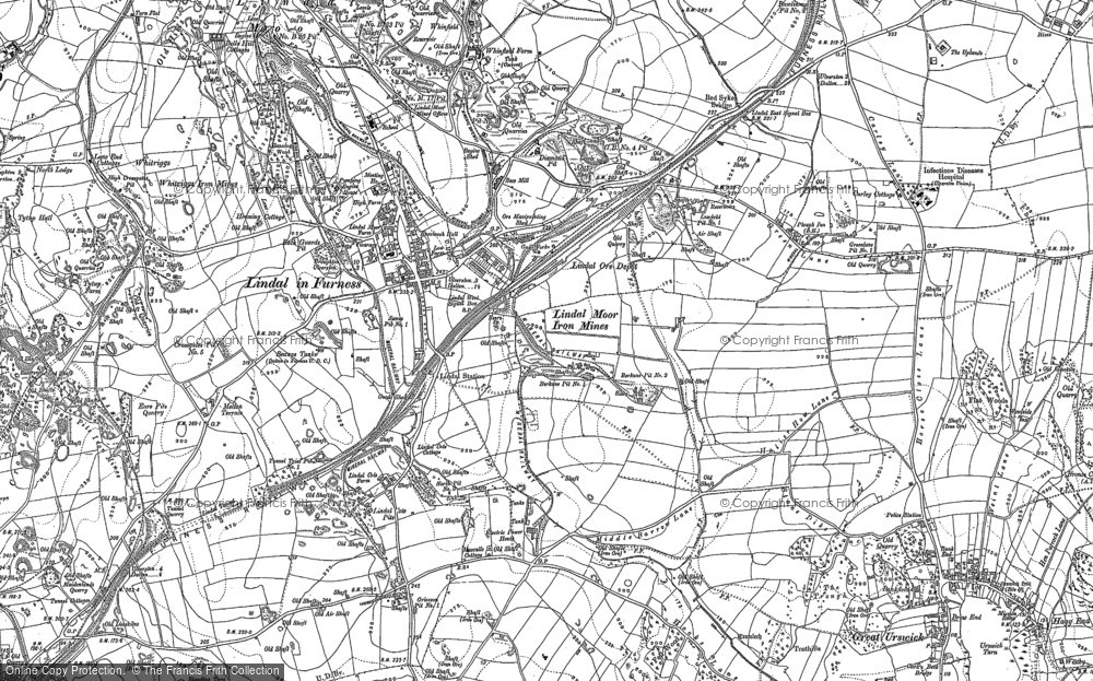 Old Map of Historic Map covering Lindal Moor in 1910