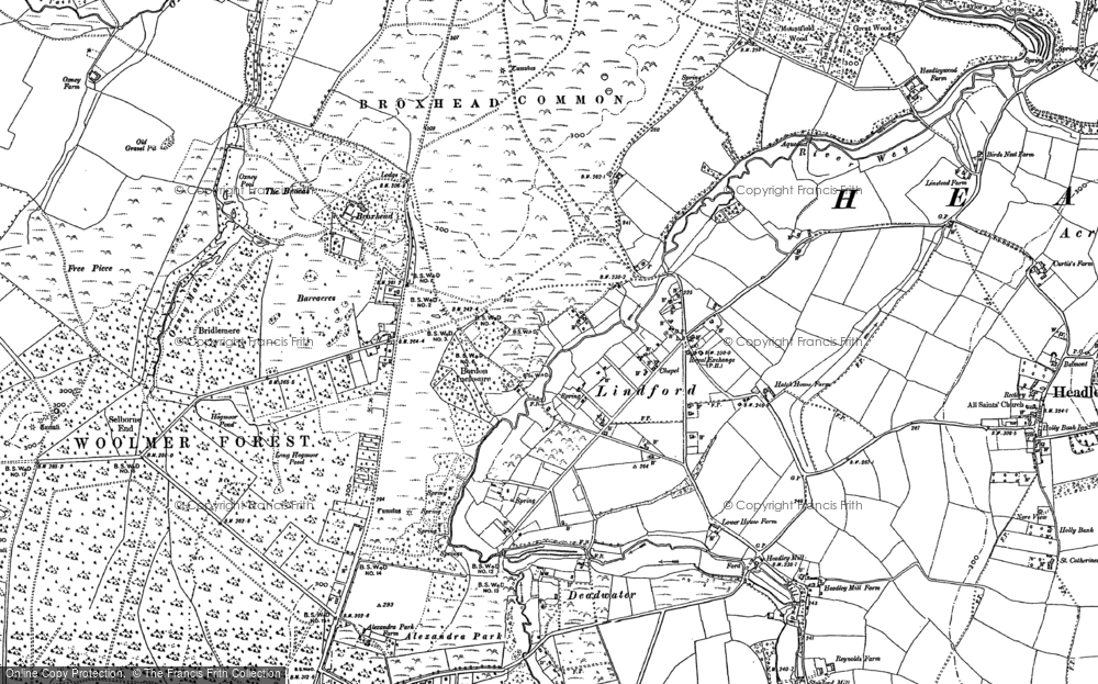 Old Map of Lindford, 1909 in 1909