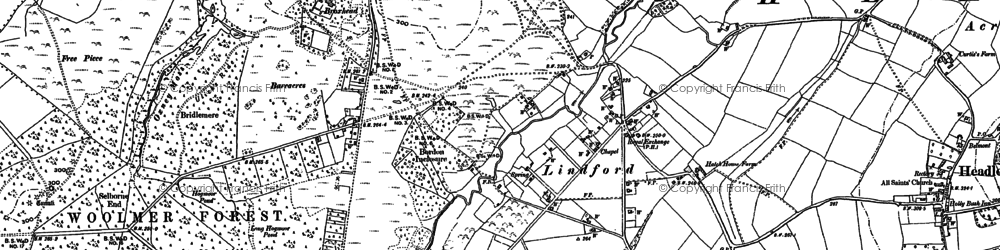 Old map of Lindford in 1909