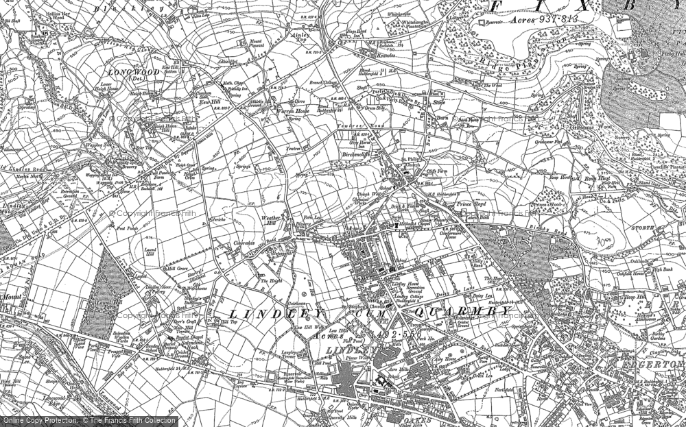 Old Map of Lindley, 1889 - 1892 in 1889