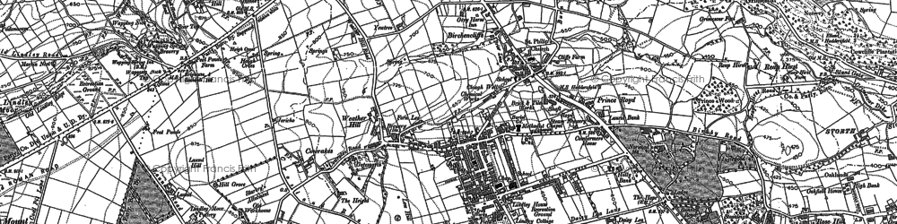 Old map of Lindley in 1889