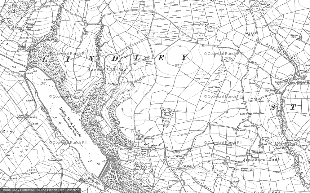 Old Map of Historic Map covering Lindley Moor in 1906