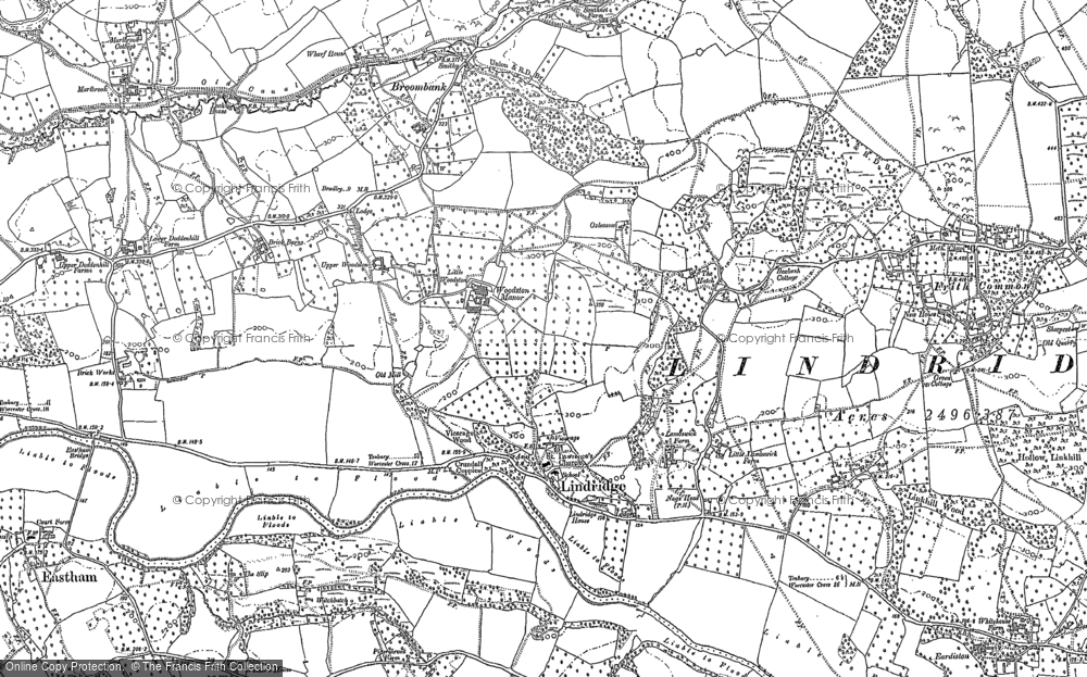 Old Map of Lindridge, 1883 - 1902 in 1883
