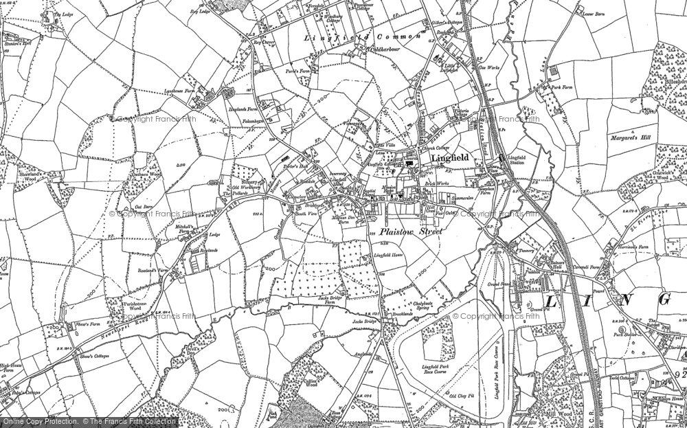 Old Map of Historic Map covering Lingfield Common in 1895