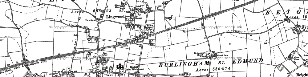 Old map of Lingwood in 1881