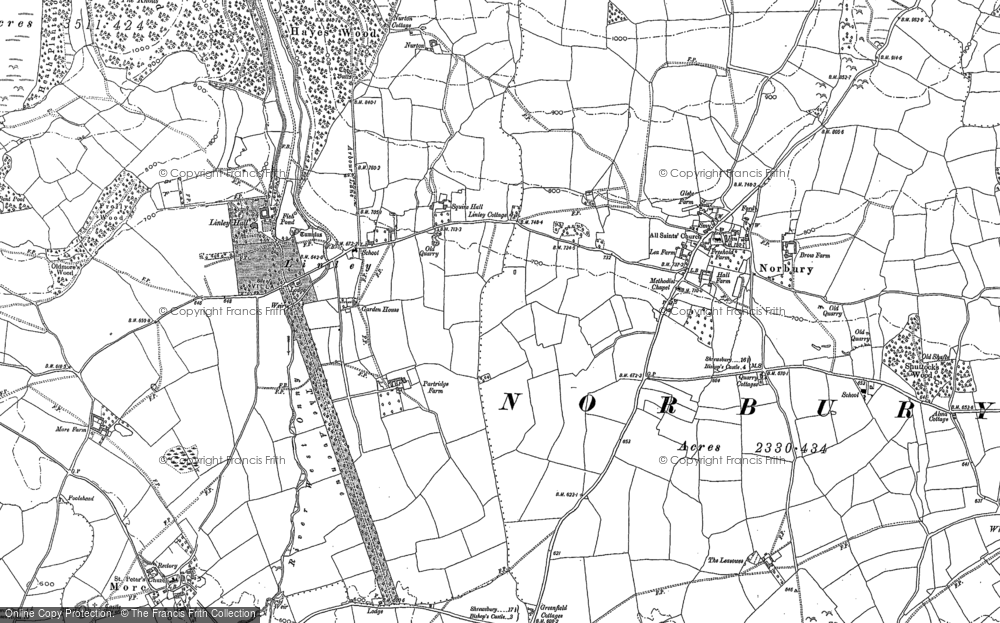 Old Map of Linley, 1882 - 1901 in 1882