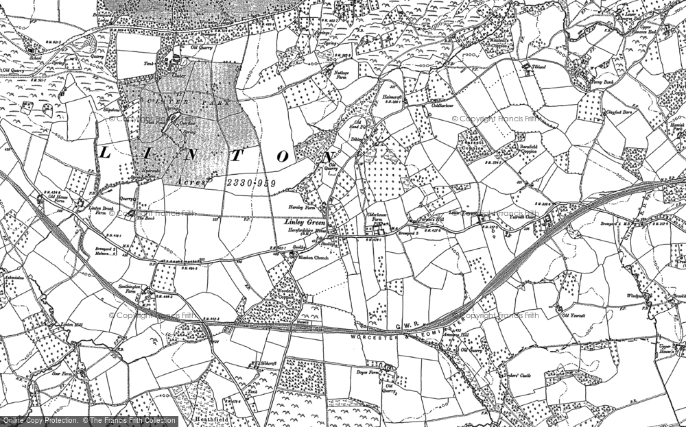 Old Map of Linley Green, 1885 in 1885