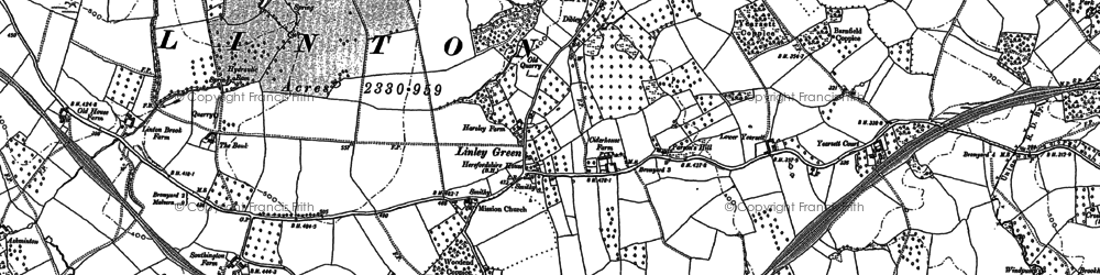 Old map of Linley Green in 1885