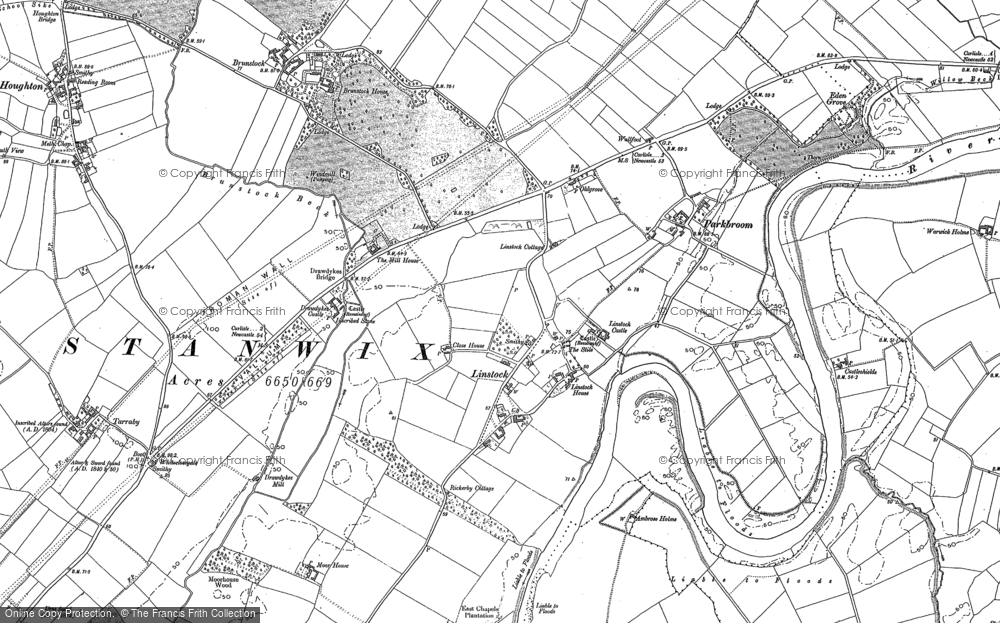 Old Map of Historic Map covering Linstock Ho in 1888