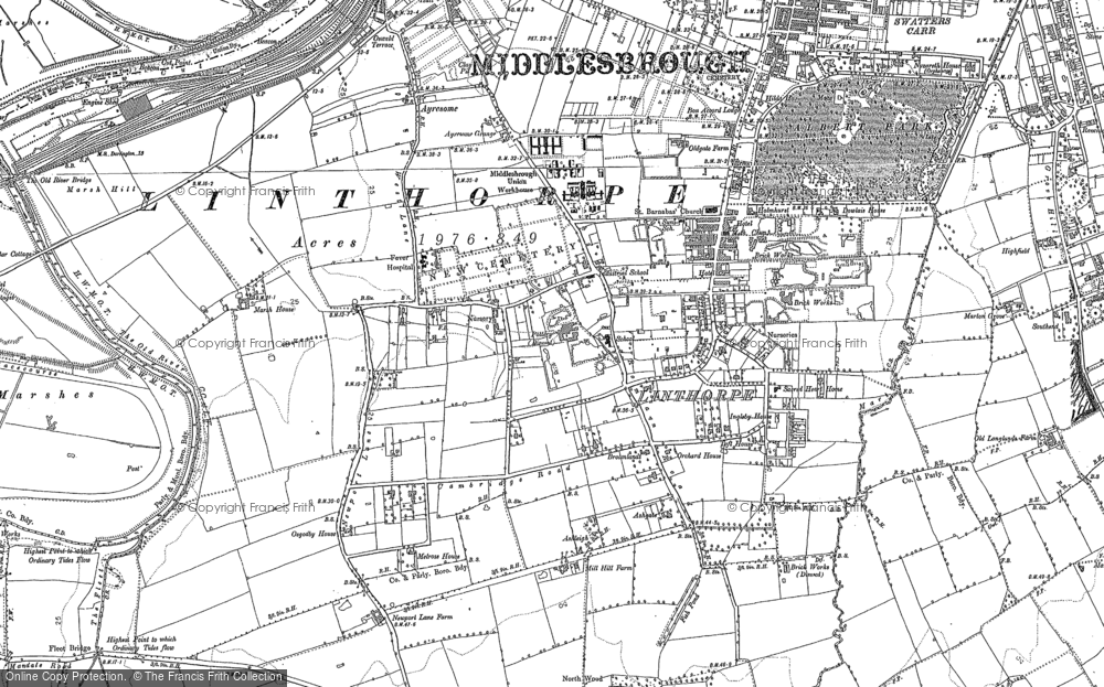 Old Map of Linthorpe, 1913 in 1913