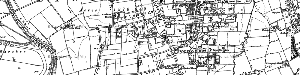 Old map of Linthorpe in 1913