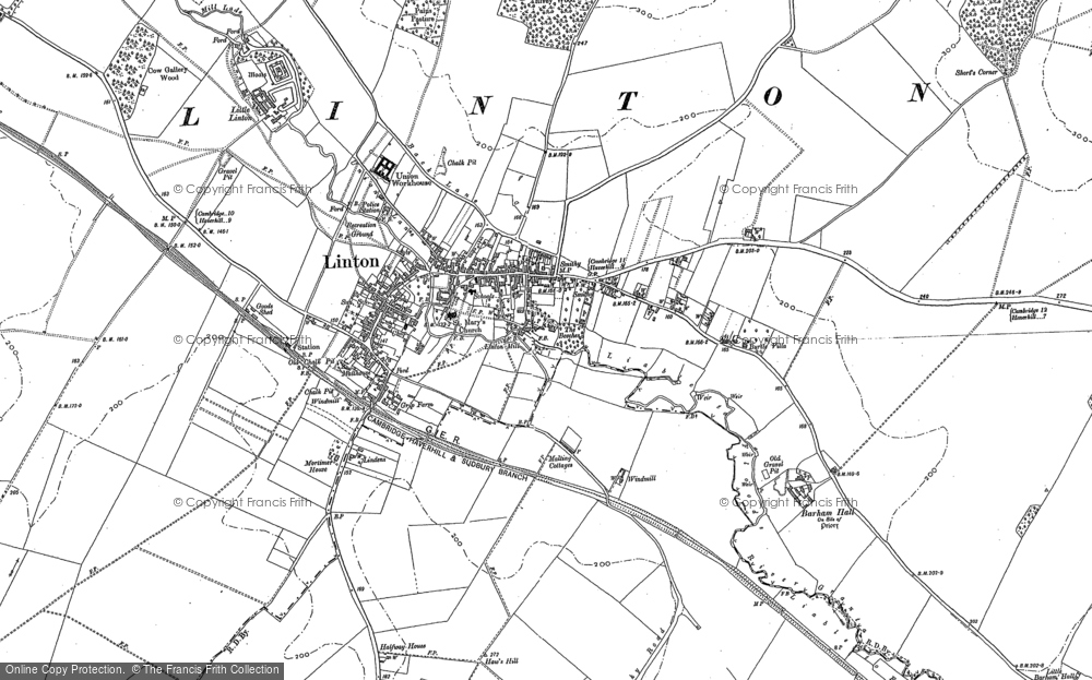 Old Map of Historic Map covering Barham Hall in 1885