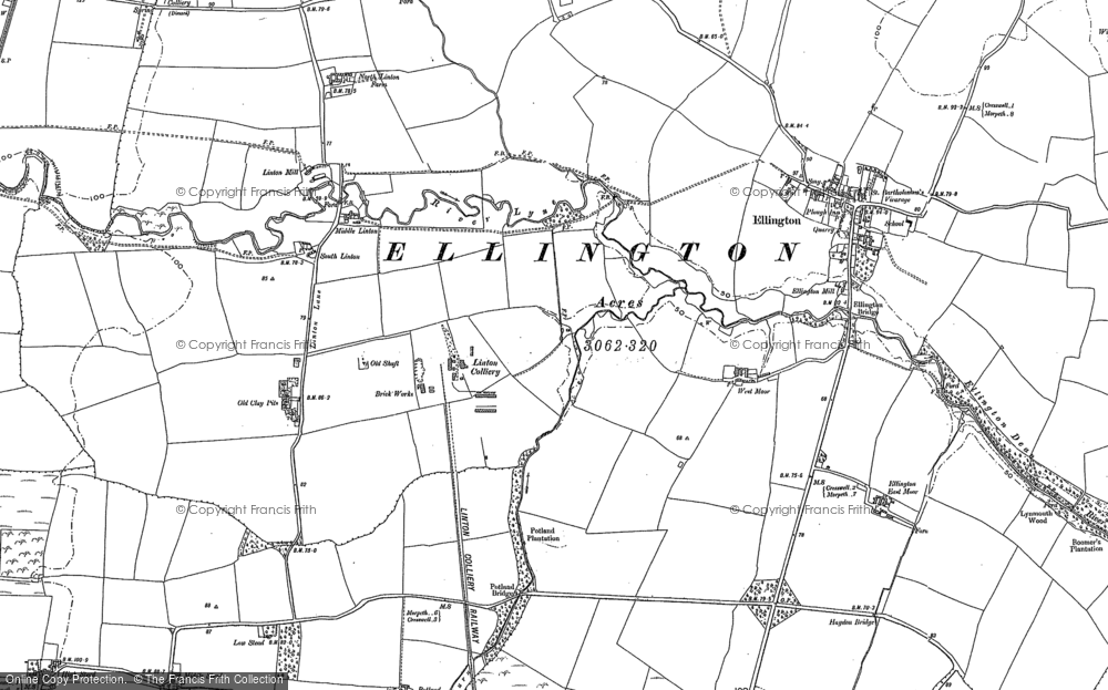 Old Map of Historic Map covering Linton Burn in 1896