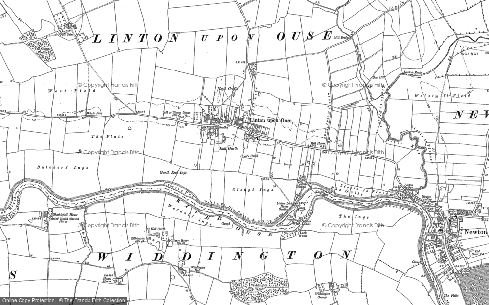 Old Map of Historic Map covering Linton Lock in 1892