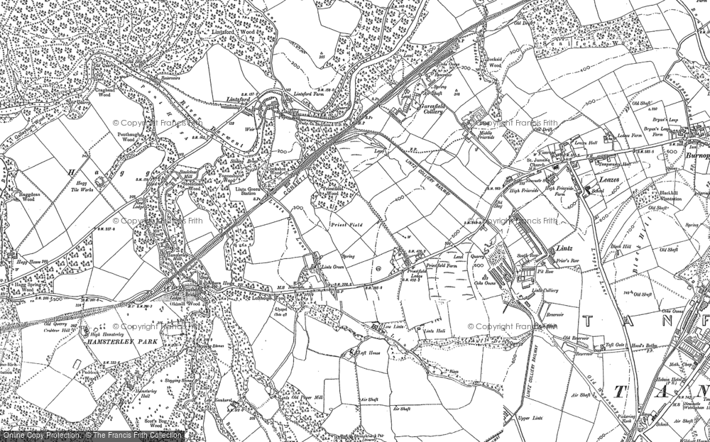 Old Map of Lintz Green, 1895 - 1916 in 1895