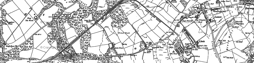 Old map of Lintz Green in 1895