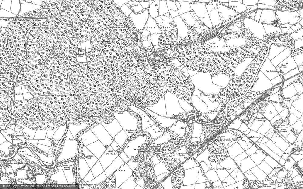 Old Map of Historic Map covering Lintzford Wood in 1895