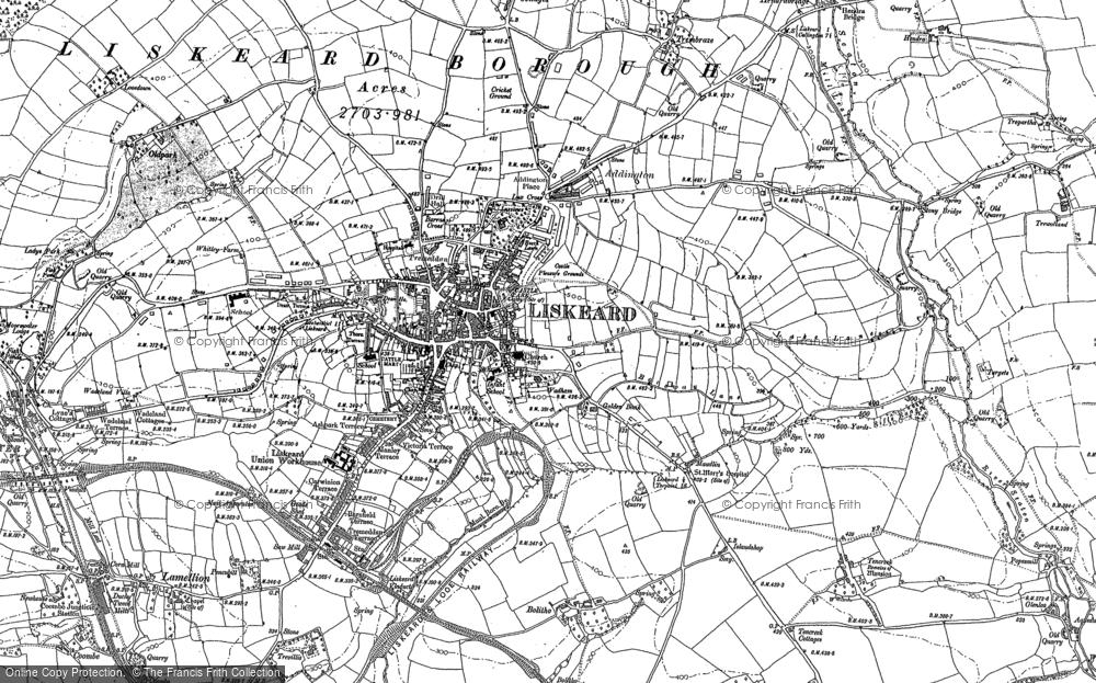 Map of Liskeard, 1882