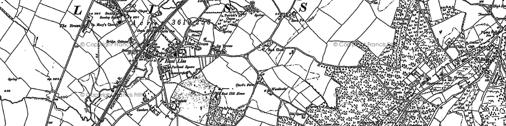 Old map of Liss in 1910