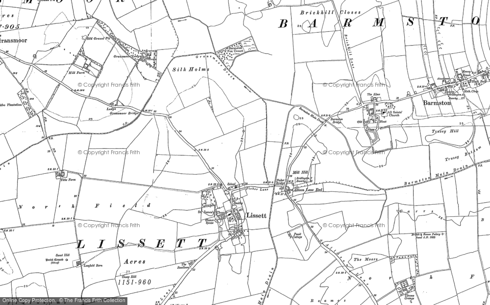 Old Map of Historic Map covering Allison Lane End in 1890