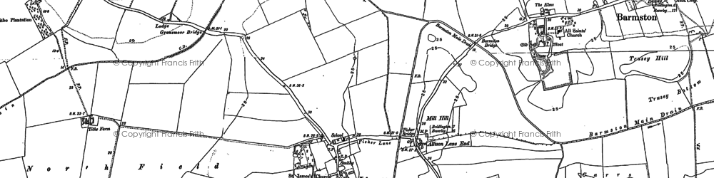Old map of Allison Lane End in 1890