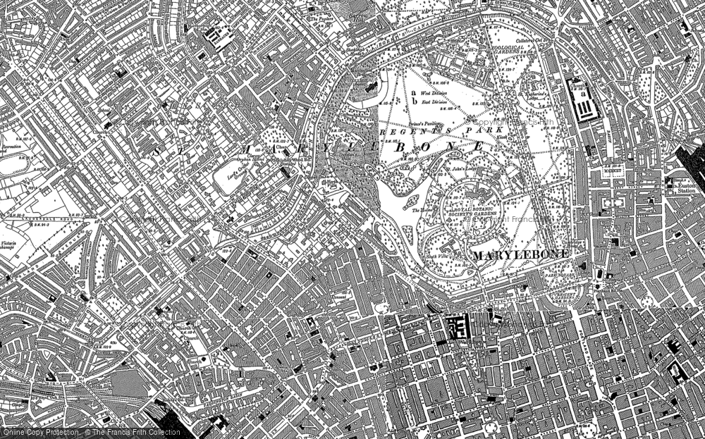 Old Map of Historic Map covering London Zoo in 1894