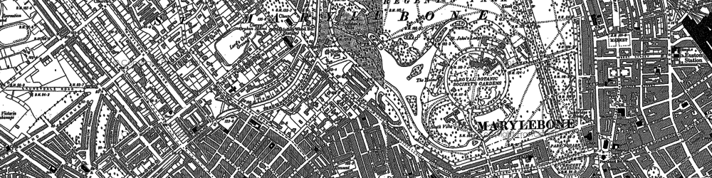 Old map of London Zoo in 1894