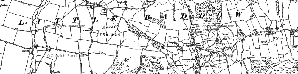 Old map of Little Baddow in 1895