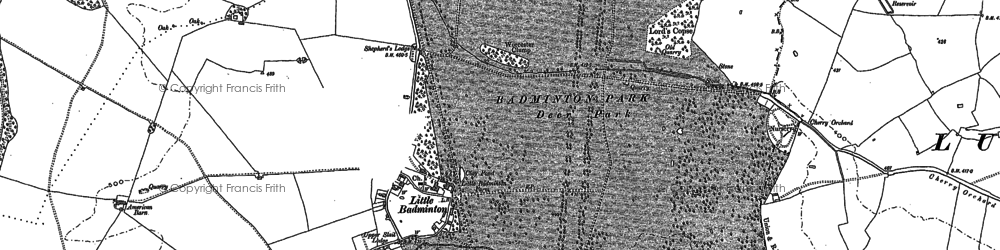 Old map of Badminton Park in 1881