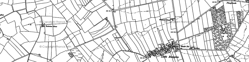 Old map of Bampton Beck in 1890